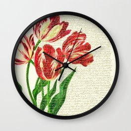 Red Tulips Calligraphy Wall Clock
