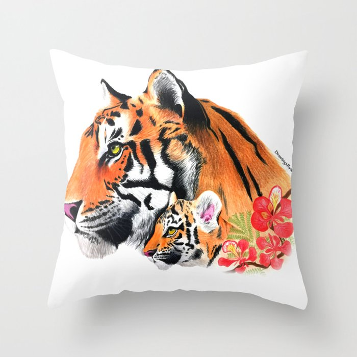 Tiger & Cub Throw Pillow