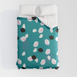 Geometrical abstract pink white dark cyan pattern Comforters