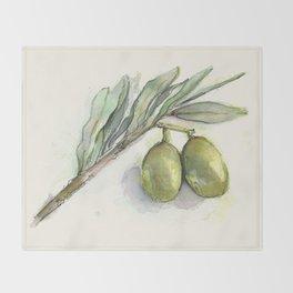 Olive Branch   Green Olives   Watercolor Illustration Throw Blanket
