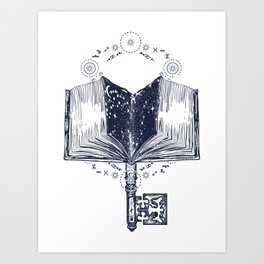 Open book and key Art Print