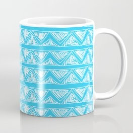 Simple Geometric Zig Zag Pattern - White on Teal - Mix & Match with Simplicity of life Coffee Mug