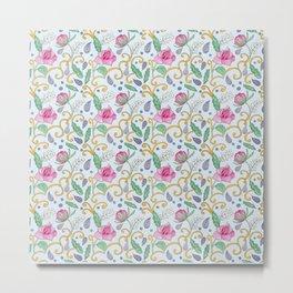 Rose and Peony Tile Pattern Metal Print