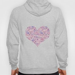 Watercolor Bird And Flower Pattern Hoody