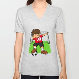 Tunisia Soccer Ball Dabbing Kid Tunisian Football Goal Unisex V-Neck
