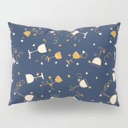 Chic navy blue faux gold glitter party time Pillow Sham