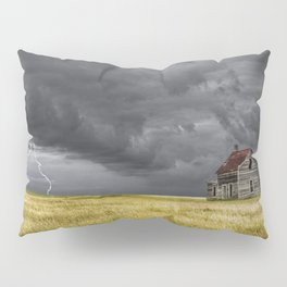 Thunderstorm on the Prairie with abandoned farmhouse Pillow Sham