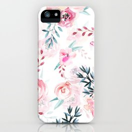 Pink Watercolor Florals I iPhone Case