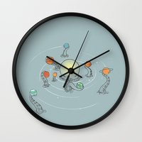 solar system Wall Clocks featuring Solar System by I Love Doodle