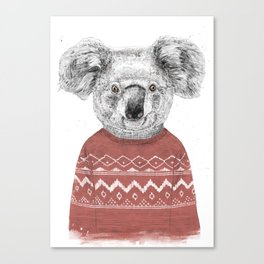 Winter koala (red) Canvas Print