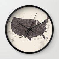 usa Wall Clocks featuring USA by Mike Koubou