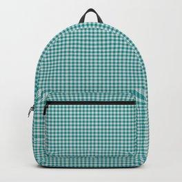 Dark Cyan Gingham Backpack