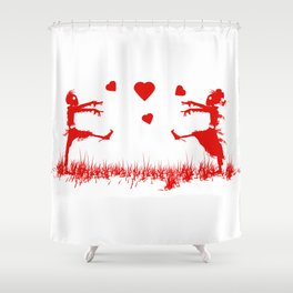 Zombies in Love Red Shower Curtain