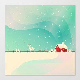 Peaceful Snowy Christmas (Teal) Canvas Print