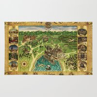 snape Area & Throw Rugs featuring Hogwarts Map by neutrone