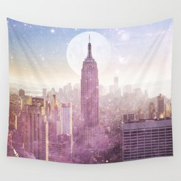 I LOVE PINK NEW YORK CITY SKYLINE - Full Moon Universe Wall Tapestry