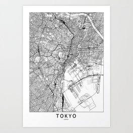 Tokyo White Map Art Print
