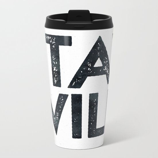 STAY WILD Vintage Black and White Metal Travel Mug
