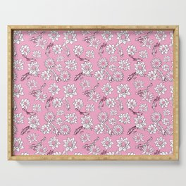 Pretty Pastel Cranberry and Pink Koi Fish on Pink Background Serving Tray