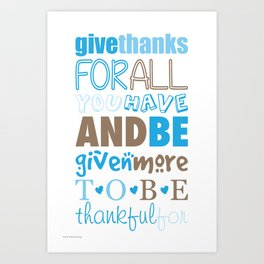 Give Thanks Quote In Blue Art Print