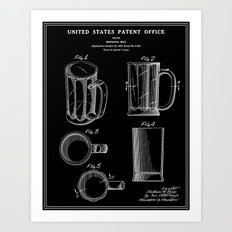 Beer Mug Patent - Black Art Print