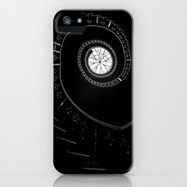Spiral staircase in blck and white iPhone Case