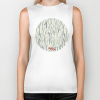 wood Biker Tanks featuring Winter Wood by littleclyde