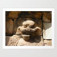 Angkor Wat wall carving Art Print