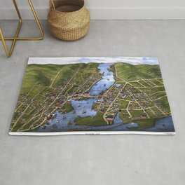 MYSTIC RIVER CONNECTICUT city old map Father Day art print Rug