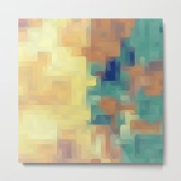 yellow green and brown painting abstract background Metal Print