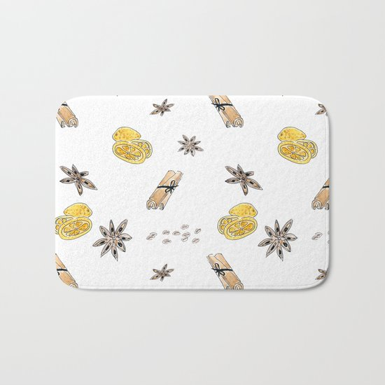 Seamless pattern with lemon slices and spices Bath Mat
