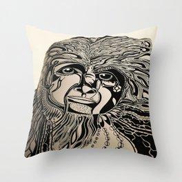 Female Sasquatch Series Clan Leader Throw Pillow
