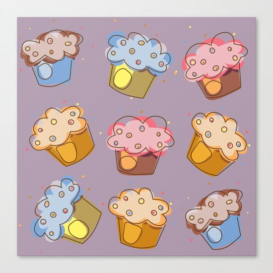Muffins - pattern Canvas Print