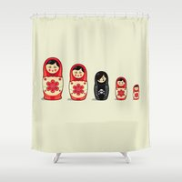 monika strigel Shower Curtains featuring The Black Sheep by Fabian Gonzalez
