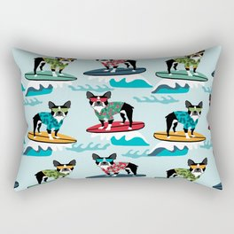 Boston Terrier surfing pattern cute pet gifts dog lovers boston terriers Rectangular Pillow