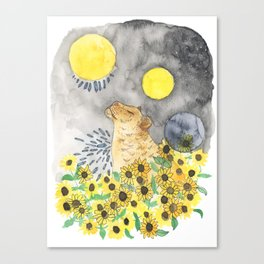 Lioness & Sunflowers Canvas Print