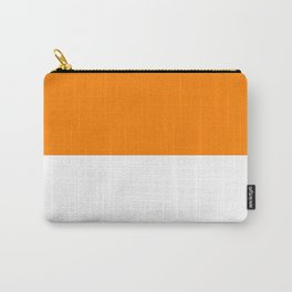 White and Orange Horizontal Halves Carry-All Pouch