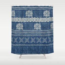 Mud Cloth Geometric Stripe Navy Shower Curtain