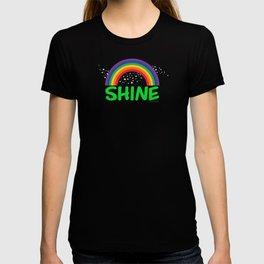 SHINE in green T-shirt