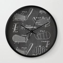 Golf Clubs Patent - Golfing Art - Black Chalkboard Wall Clock