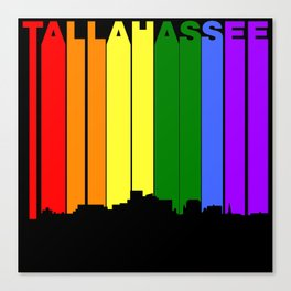Tallahassee Florida Gay Pride Rainbow Skyline Canvas Print