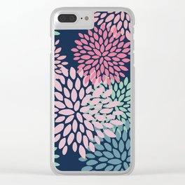 Floral Pattern, Navy Blue, Pink, Coral, Green Clear iPhone Case