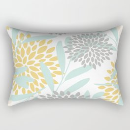 Floral Prints, Leaves and Blooms, Yellow, Gray and Aqua Rectangular Pillow