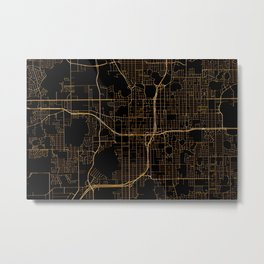 Black and gold Orlando map Metal Print