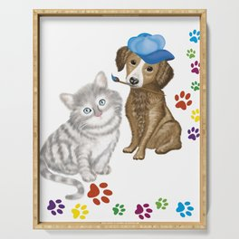 cat and dog Serving Tray
