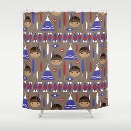 Seamless kids cute American indian native retro background pattern Shower Curtain