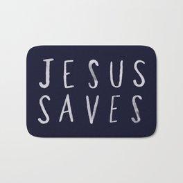 Jesus Saves x Navy Bath Mat