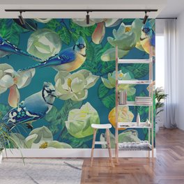 Blue Jays and Magnolias Wall Mural