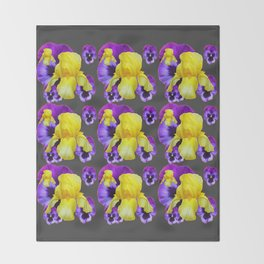 CHARCOAL GREY YELLOW IRIS PURPLE PANSY ART Throw Blanket