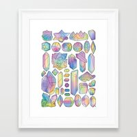 minerals Framed Art Prints featuring Rainbow Minerals by Ouvra